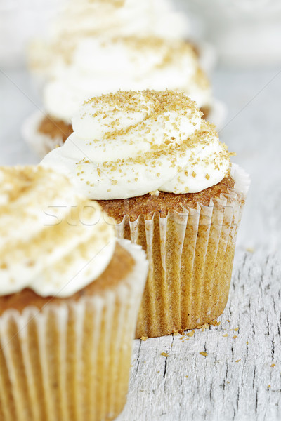 Pumpkin Spice Cupcake with Cream Cheese Icing Stock photo © StephanieFrey