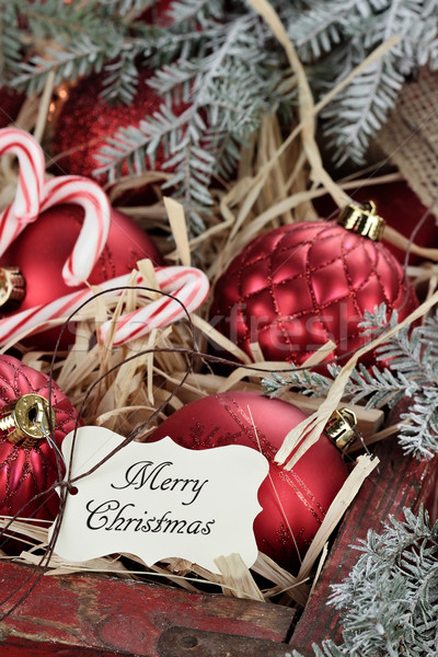 Stock photo: Box of Glass Christmas Ornaments and Tag