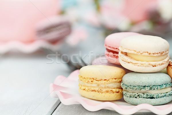 édes pasztell színes macaronok csészealj friss Stock fotó © StephanieFrey