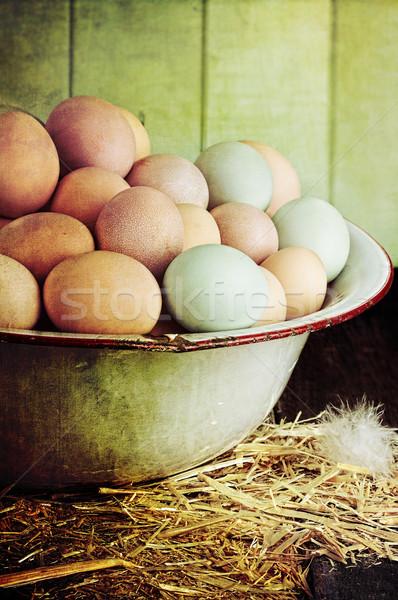Rustic Farm Raised Eggs Stock photo © StephanieFrey