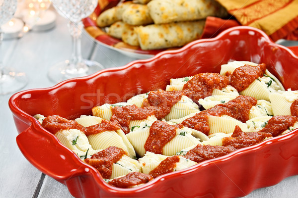 Ricotta Stuffed Cheese Shells and Bread Stock photo © StephanieFrey