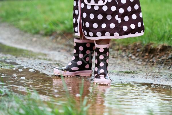 Child Playing in Rain Stock photo © StephanieFrey