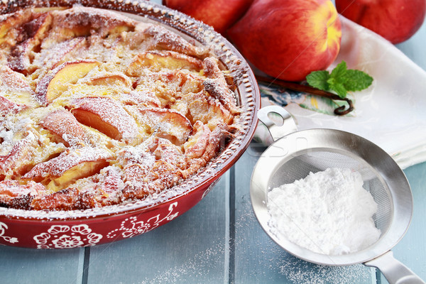 Peach Clafouti with Powered Sugar Stock photo © StephanieFrey