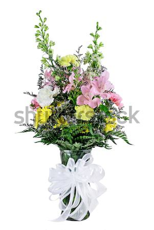 Fleuriste bouquet fleurs mixte vase ruban Photo stock © StephanieFrey