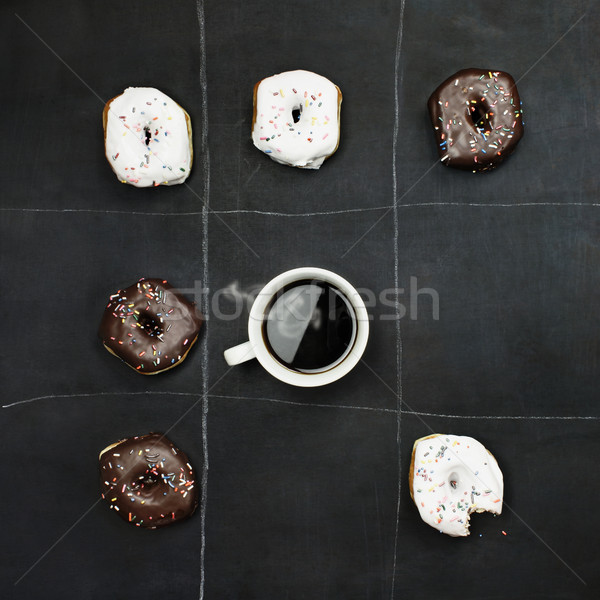 Tic Tac Toe Donuts and Coffee Stock photo © StephanieFrey