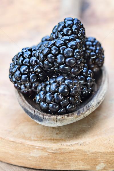 Raw Blackberries in Wooden Spoon Stock photo © StephanieFrey