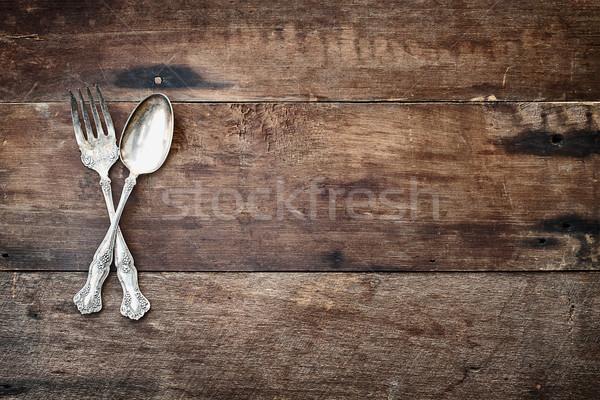 Antique argenterie bois cuillère fourche rustique Photo stock © StephanieFrey