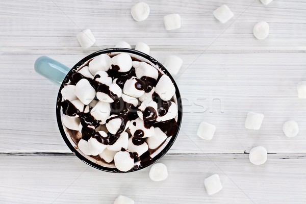Hot Chocolate with Chocolate Sauce and Marshmallows  Stock photo © StephanieFrey
