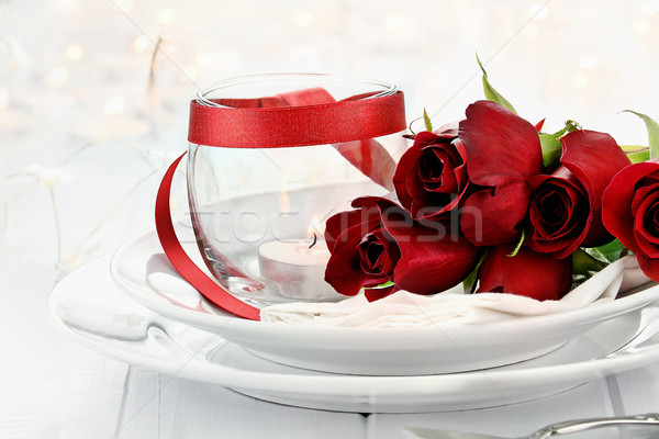Romantic Candlelite Table Setting with Roses Stock photo © StephanieFrey