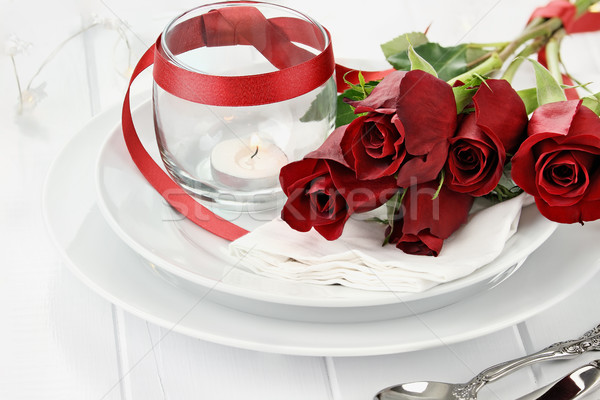 Romantic Table Setting with Roses and Candles Stock photo © StephanieFrey