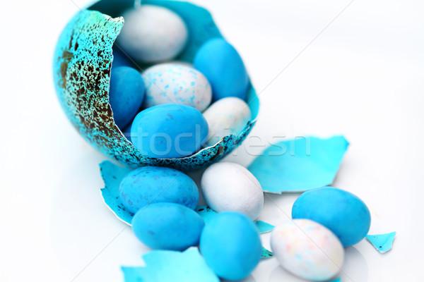 полый пасхальное яйцо из конфеты синий белый Сток-фото © StephanieFrey