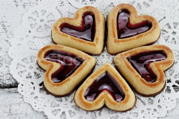 Stok fotoğraf: Kalp · kurabiye · daire · rustik · gıda