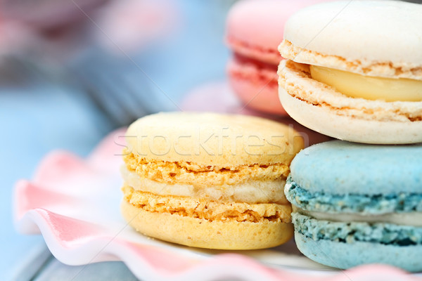Plate of Pastel Colored Macarons Stock photo © StephanieFrey
