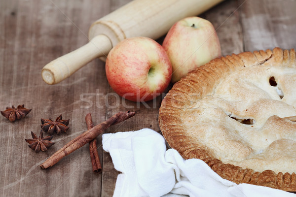 Apple Pie with Rolling Pin and Ingredients Stock photo © StephanieFrey