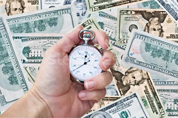 Stockfoto: Hand · horloge · geld · vrouw · klok