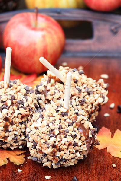 Delicious Chocolate Chip Carmel Apples Stock photo © StephanieFrey