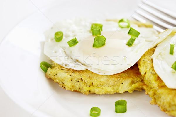 Eieren aardappel pannenkoeken hartig bieslook Stockfoto © StephanieFrey