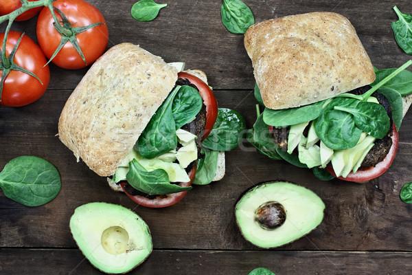 Сток-фото: вегетарианский · гриб · авокадо · Burger · вегетарианский · гамбургер