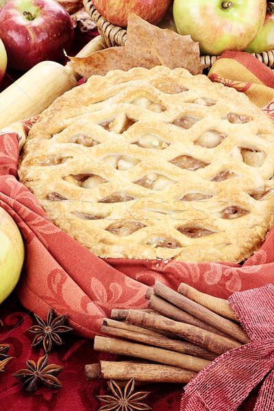 Almás pite finom friss sült hozzávalók tökéletes Stock fotó © StephanieFrey