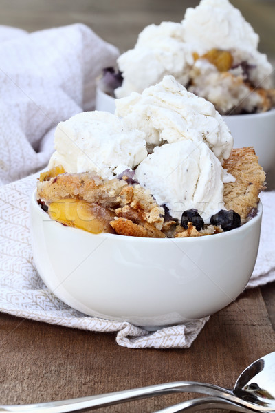 Blueberry Peach Cobbler and Ice Cream Stock photo © StephanieFrey
