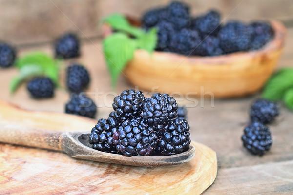 Blackberries in Wooden Spoon Stock photo © StephanieFrey