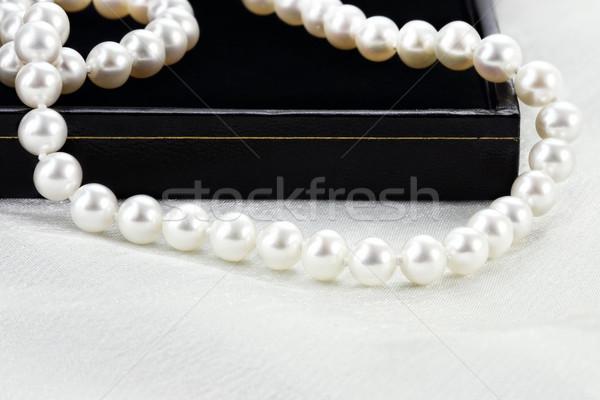 строку жемчуга красивой Pearl ожерелье черный Сток-фото © StephanieFrey