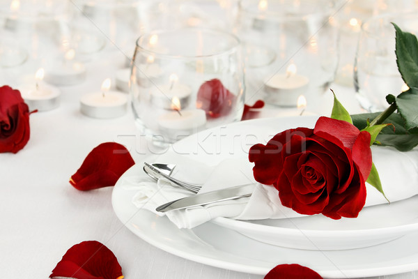 Romantic Candle light Table Setting Stock photo © StephanieFrey