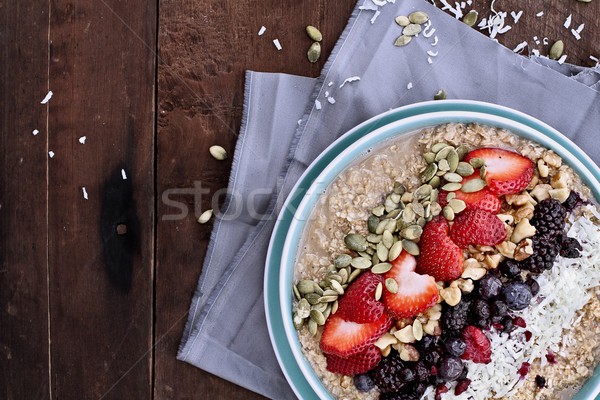Oatmeal and Fruit Breakfast Stock photo © StephanieFrey