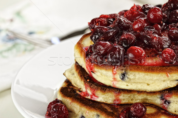 Cranberry Sauce over Fresh Pancakes Stock photo © StephanieFrey
