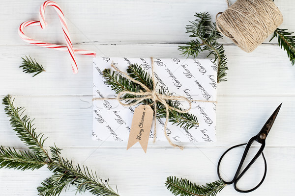 White Gift with Merry Christmas Tag Stock photo © StephanieFrey