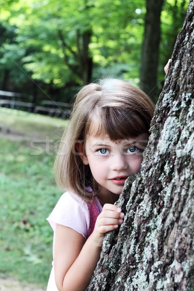 Child Leaning Against an Oak Tree Stock photo © StephanieFrey