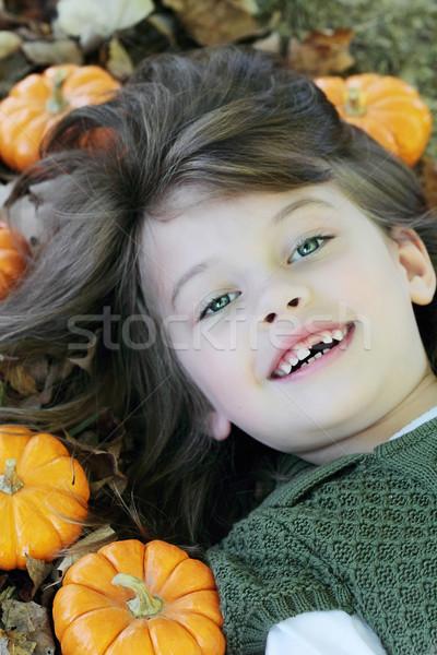 Criança abóboras crianças campo retrato Foto stock © StephanieFrey