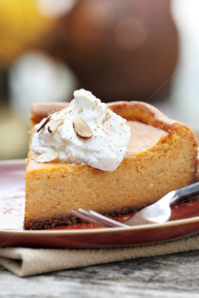 Stock photo:  Pumpkin Cheesecake Pie with Whipped Cream