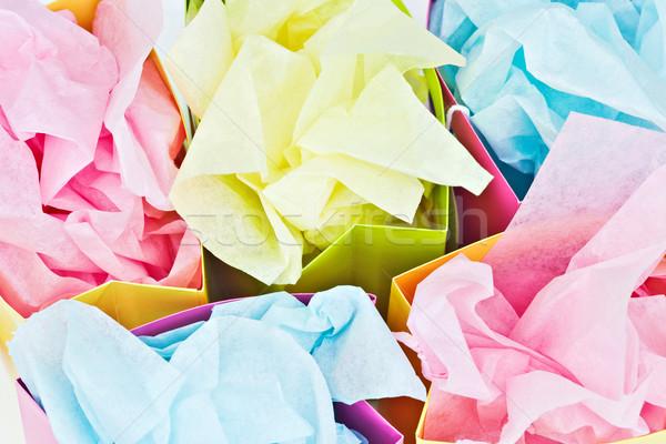 Ajándék szatyrok papírzsebkendő papír kék csomagolás Stock fotó © StephanieFrey