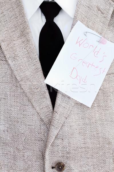 Boldog apák napját jegyzet öltöny kabát nyakkendő póló Stock fotó © StephanieFrey