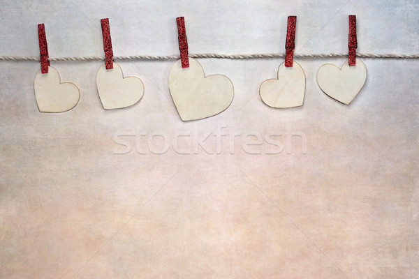 Valentines Day Hearts Clipped on String Stock photo © StephanieFrey