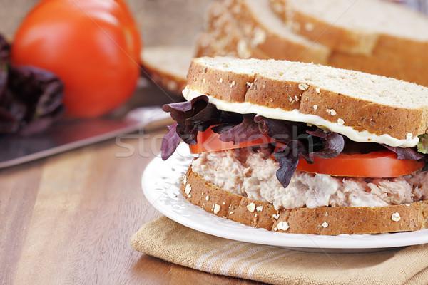 Tuna Salad Sandwich on Whole Grain Bread Stock photo © StephanieFrey