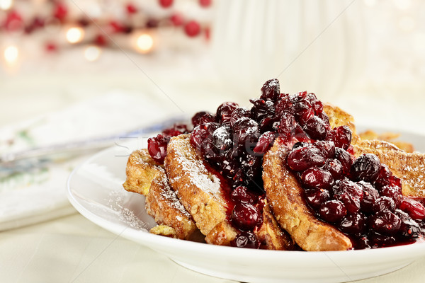 Stock photo: Cranberry Sauce over French Toast