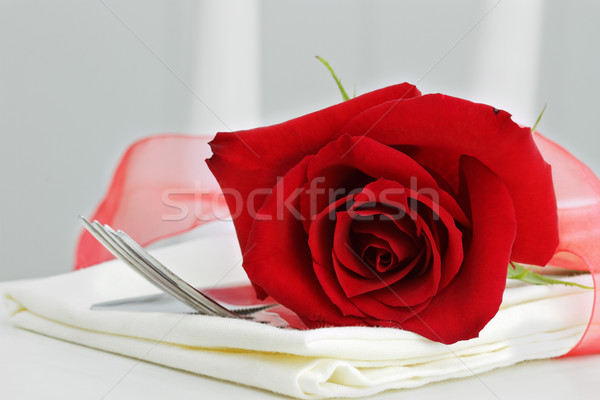 Red Rose and Silverware Stock photo © StephanieFrey
