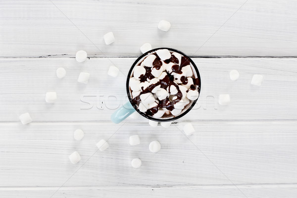 Hot Cocoa with Marshmallows and Chocolate Sauce Stock photo © StephanieFrey