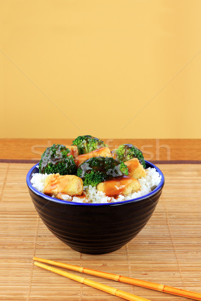 Keverés sült tofu brokkoli vegetáriánus edény Stock fotó © StephanieFrey