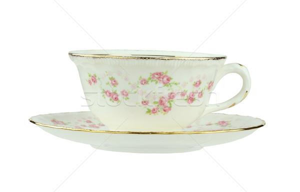 Antik teáscsésze csészealj rózsaszín rózsa girland izolált Stock fotó © StephanieFrey