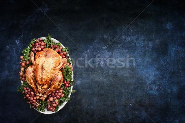 Roast Turkey over Chalkboard Texture Background Stock photo © StephanieFrey