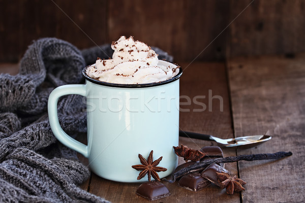Hot Cocoa or Coffee with Whip Cream Stock photo © StephanieFrey