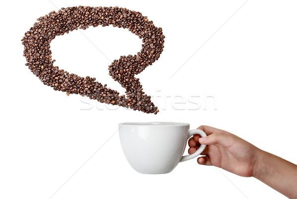 Izolált kéz tart csésze kávébab szövegbuborék Stock fotó © StephanieFrey