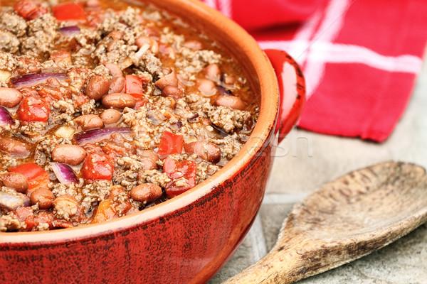 Chili piros kerámia edény étel élet Stock fotó © StephanieFrey