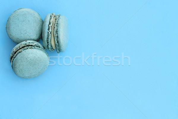 Bleu macarons chambre espace de copie alimentaire fond Photo stock © StephanieFrey