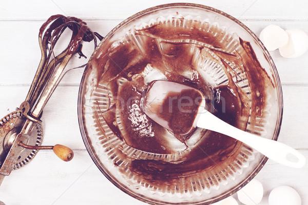 Retro csokoládés sütemény kép klasszikus tojás sekély Stock fotó © StephanieFrey