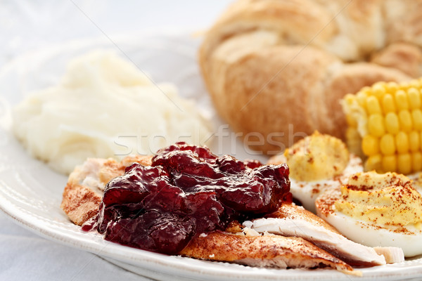 Cranberry Sauce Over Roast Turkey Stock photo © StephanieFrey