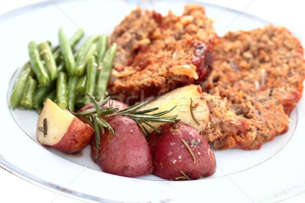 Pörkölt piros krumpli rozmaring extrém sekély Stock fotó © StephanieFrey